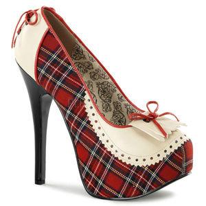 Shoes - Fringe Plaid High Heel Stiletto Platform Shoes